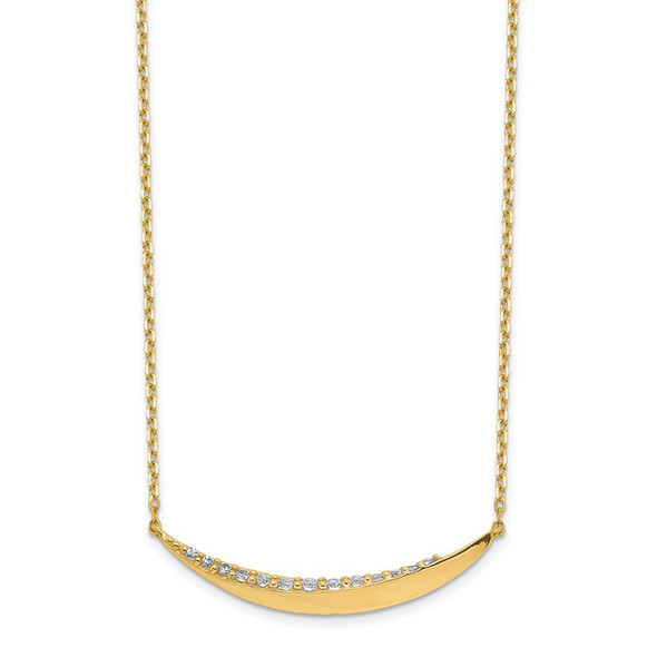 14k Yellow Gold Curved Bar CZ with 2IN EXT Necklace