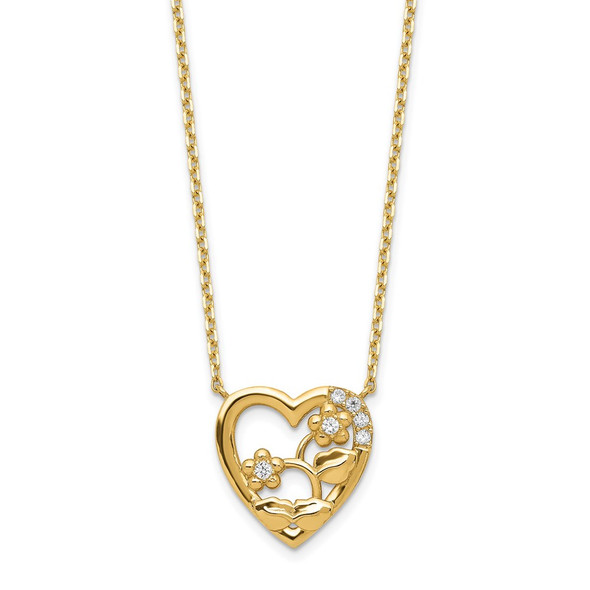 14k Yellow Gold Heart with Flowers & CZ with 2IN EXT Necklace