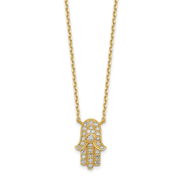 14k Yellow Gold Hamsa CZ with 2IN EXT Necklace