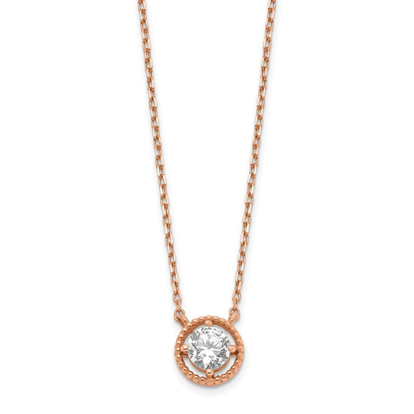 14K Rose Gold Circle CZ w/ 1in ext. Necklace