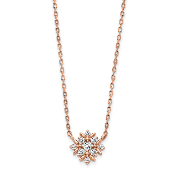 14K Rose Gold Fancy CZ w/1in ext. Necklace