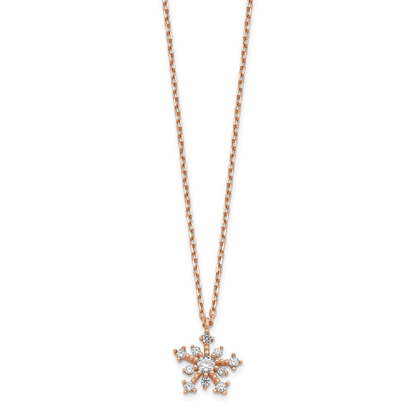 14K Rose Gold CZ Snowflake w/ 1in ext. Necklace