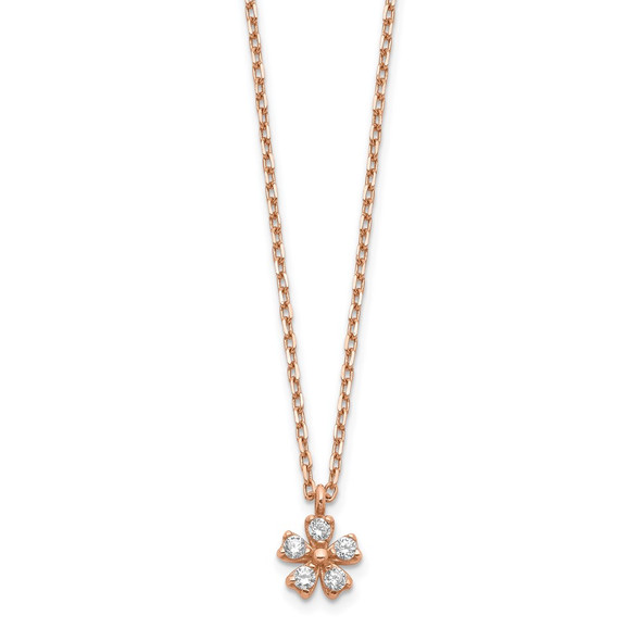 14K Rose Gold CZ Flower w/ 1in ext. Necklace