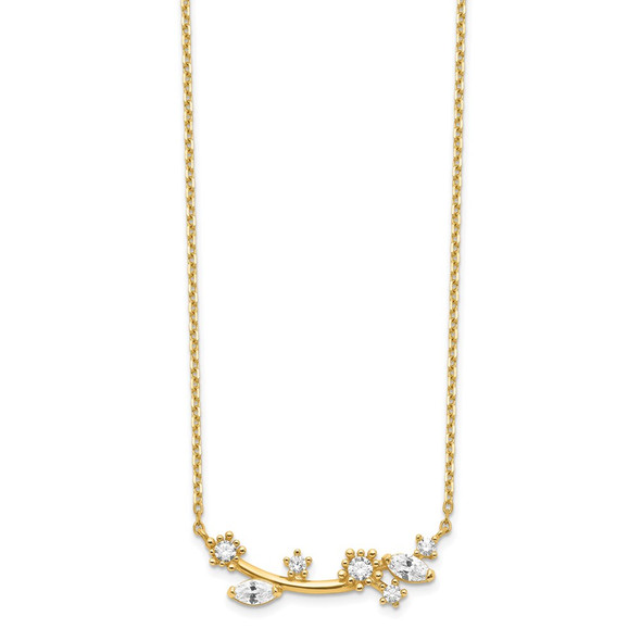 14k Yellow Gold Flower with Crystal & CZ with 2IN EXT Necklace