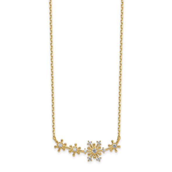 14k Yellow Gold Snowflakes CZ with 2IN EXT Necklace