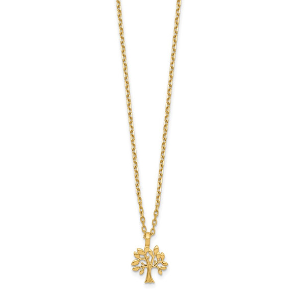 14k Yellow Gold Small Tree Charm with 2IN EXT Necklace