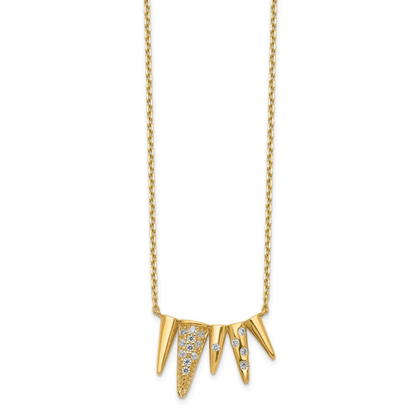14k Yellow Gold Decorated Triangles CZ with 2IN EXT Necklace