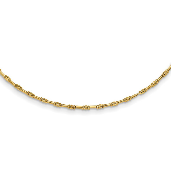 14k Yellow Gold Polished and Diamond-cut Fancy Beaded 17in Necklace