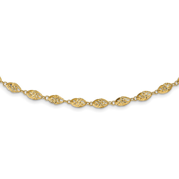 14k Yellow Gold Polished Diamond-cut Fancy Twisted Beaded 18in Necklace