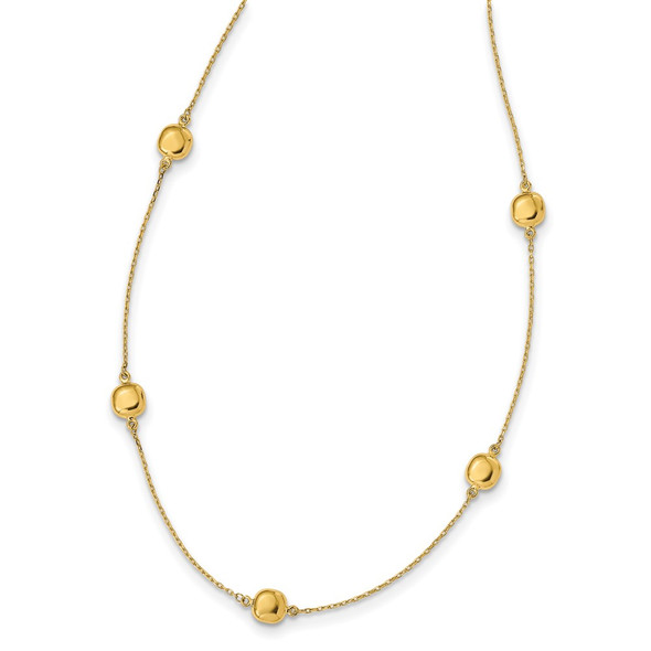 14k Yellow Gold Polished 5 Station 16in w/2 in ext. Necklace