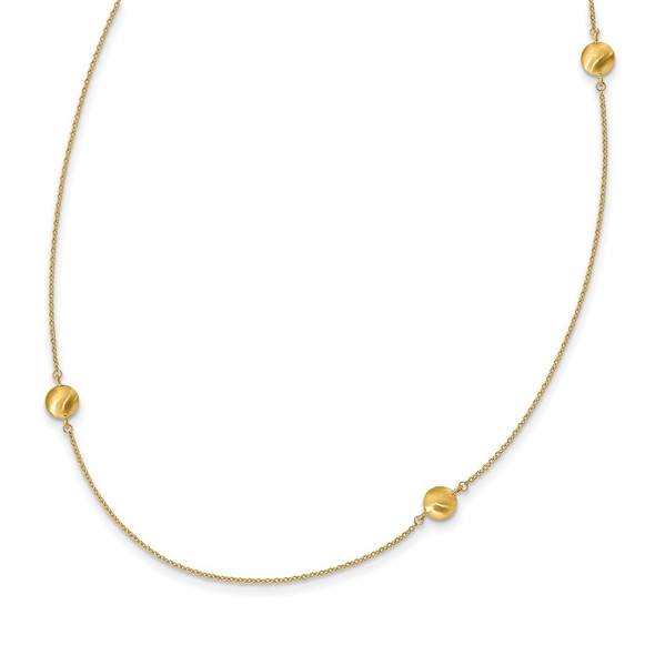 14k Yellow Gold Brushed and Polished 8 Station Fancy 36in Necklace