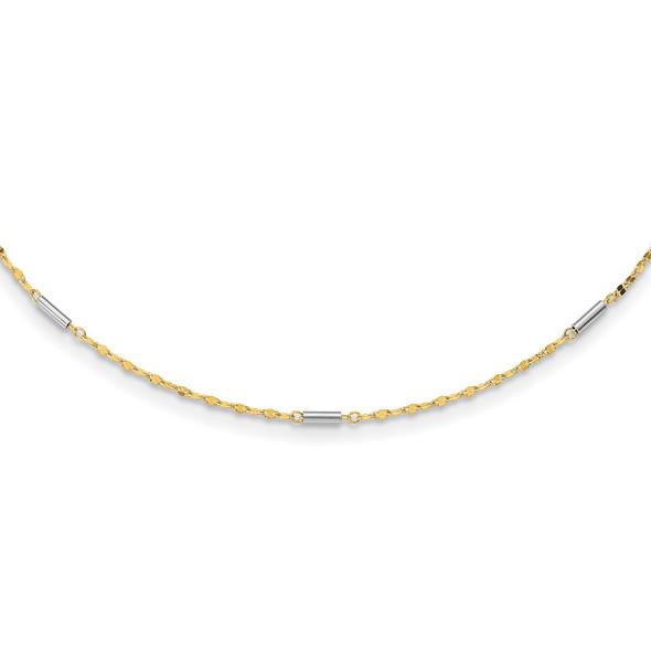 14K Two-tone Gold Diamond-cut Mini Bar Links Fancy Necklace