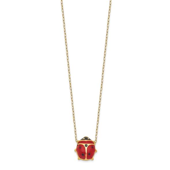 14k Yellow Gold Enameled Ladybug Necklace