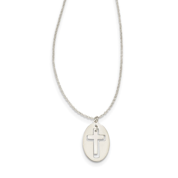 Sterling Silver Polished and Satin 2-piece Latin Cross Necklace