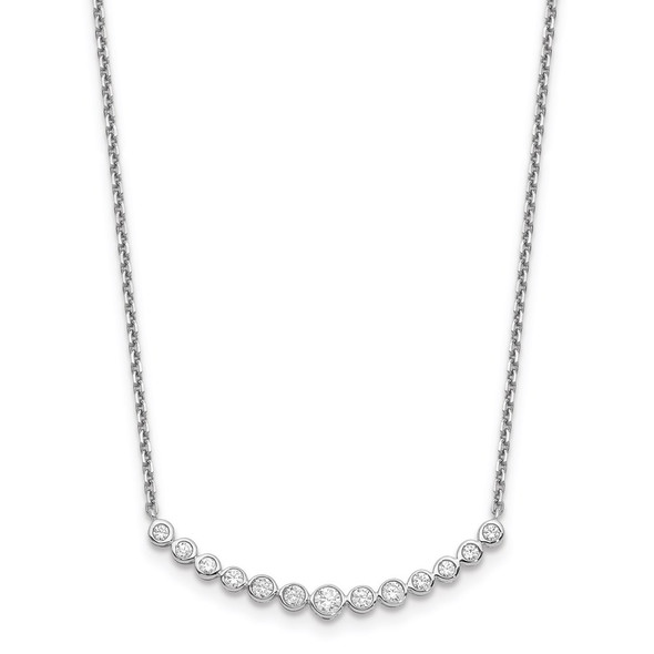 14k White Gold Diamond Curved Bar Necklace PM1005-050-WA-18