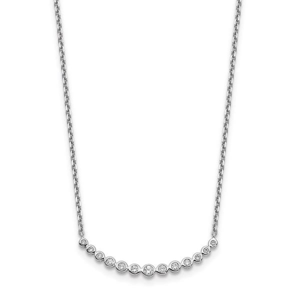 14k White Gold Diamond Curved Bar Necklace PM1005-025-WA-18