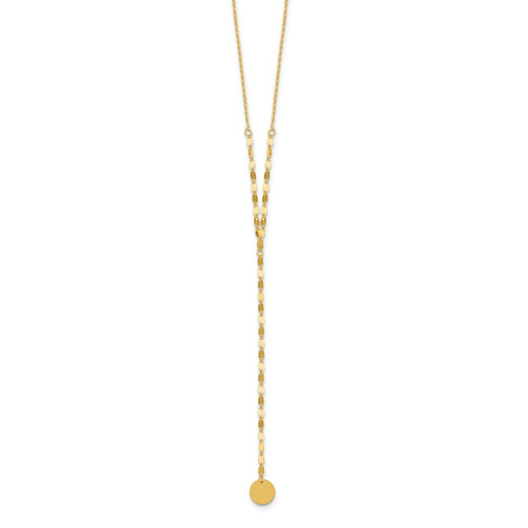 14k Yellow Gold Circle Dangle Adjustable 16.5-20in Necklace