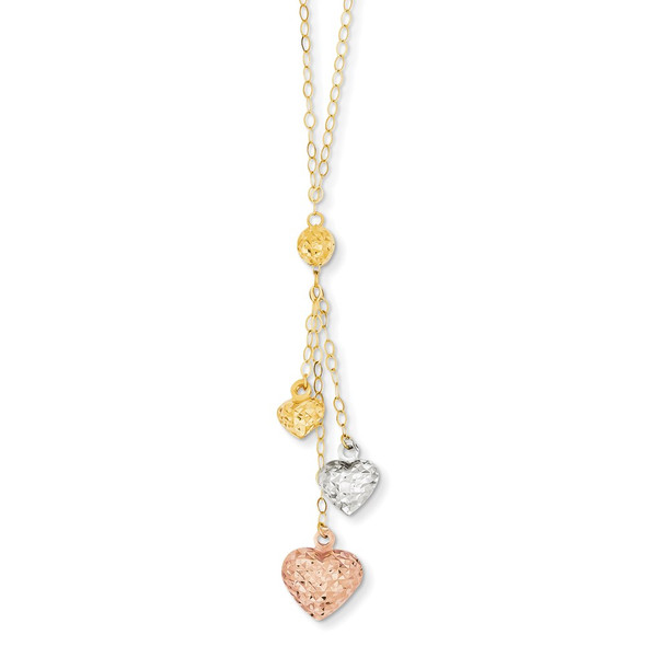 14k Tri-color Gold Puff Heart Lariat with 2in ext Necklace