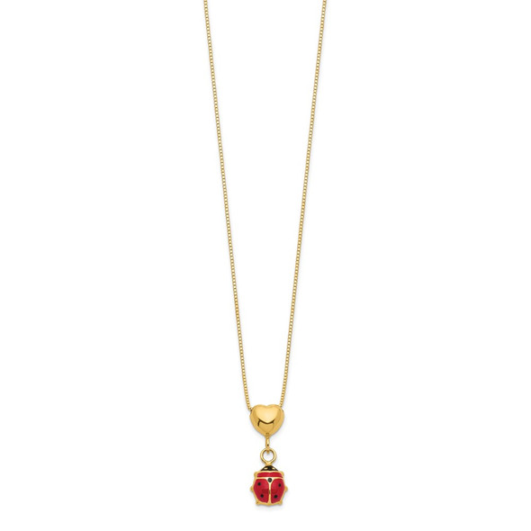14k Yellow Gold 15.5in Enameled Ladybug & Heart Necklace