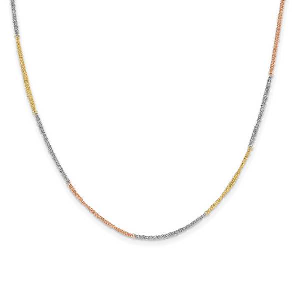 14k Tri-color Gold Section Strands w/ 2in Ext Necklace