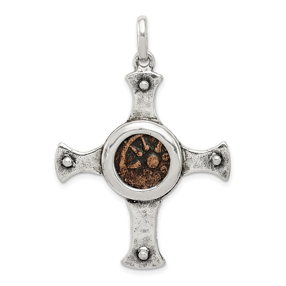 Sterling Silver & Bronze Antiqued Widows Mite Coin Cross Pendant