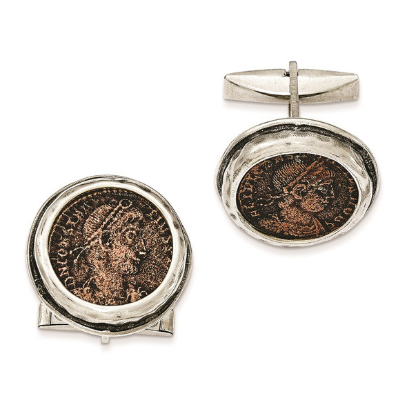 Sterling Silver Antiqued Roman Bronze Coin Cufflinks