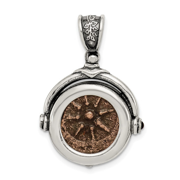 Sterling Silver & Bronze Antiqued Widows Mite Coin Pendant QAC100