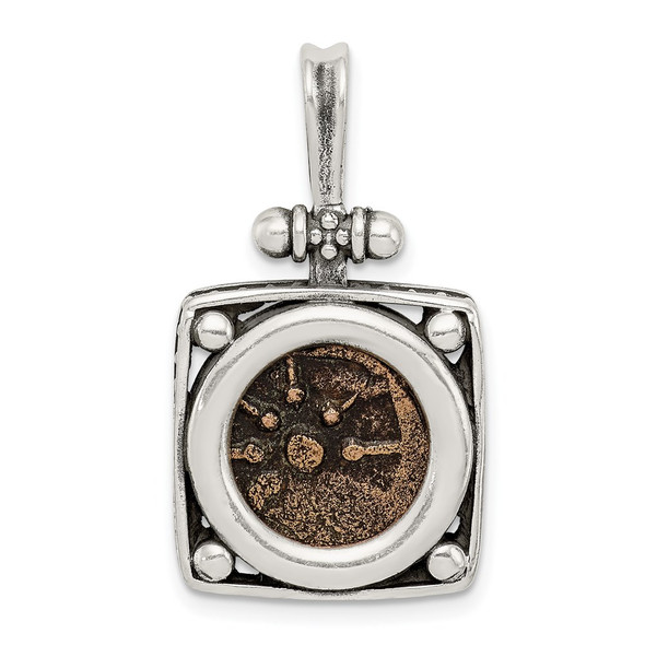 Sterling Silver & Bronze Antiqued Widows Mite Coin Pendant
