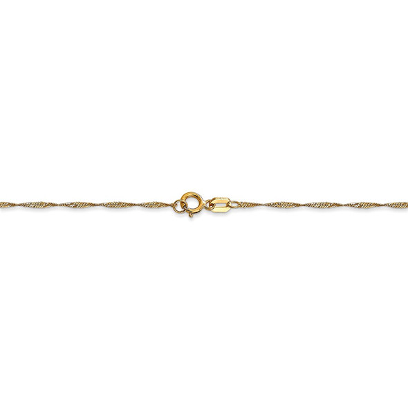 "16"" 14k Yellow Gold 1mm Carded Singapore Chain Necklace"