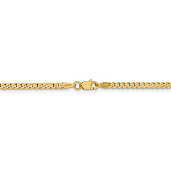 "16"" 14k Yellow Gold 2.3mm Flat Beveled Curb Chain Necklace"