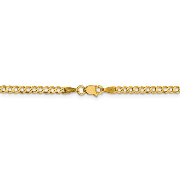 """20"""" 14k Yellow Gold 3.1mm Lightweight Flat Cuban Chain Necklace"""