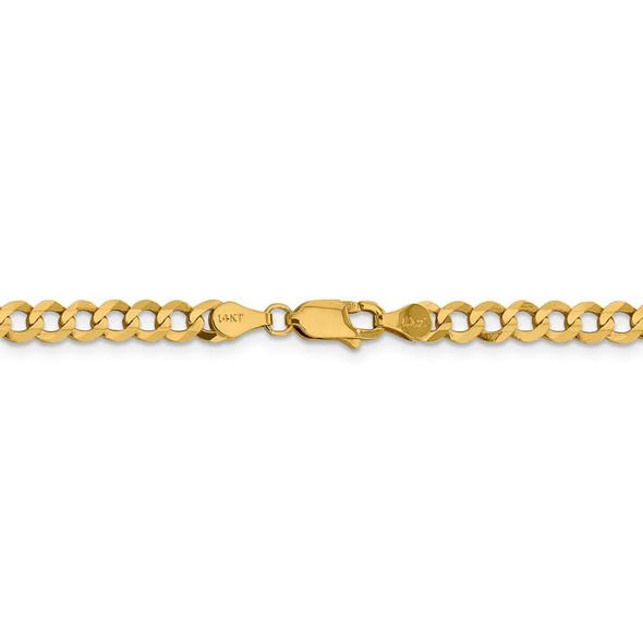 """18"""" 14k Yellow Gold 4.7mm Lightweight Flat Cuban Chain Necklace"""