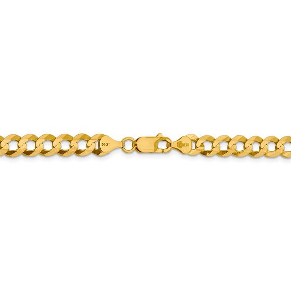 """18"""" 14k Yellow Gold 7.2mm Lightweight Flat Cuban Chain Necklace"""