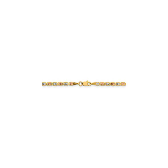 "16"" 14k Tri-color Gold 2.75mm Rose & White Rhodium-plating Pave Valentino Chain Necklace"