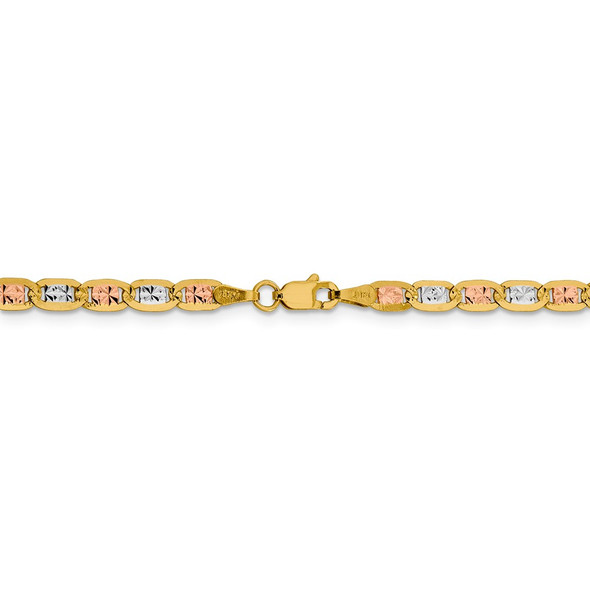 "24"" 14k Tri-color Gold 3.8mm Rose & White Rhodium-plating Pave Valentino Chain Necklace"