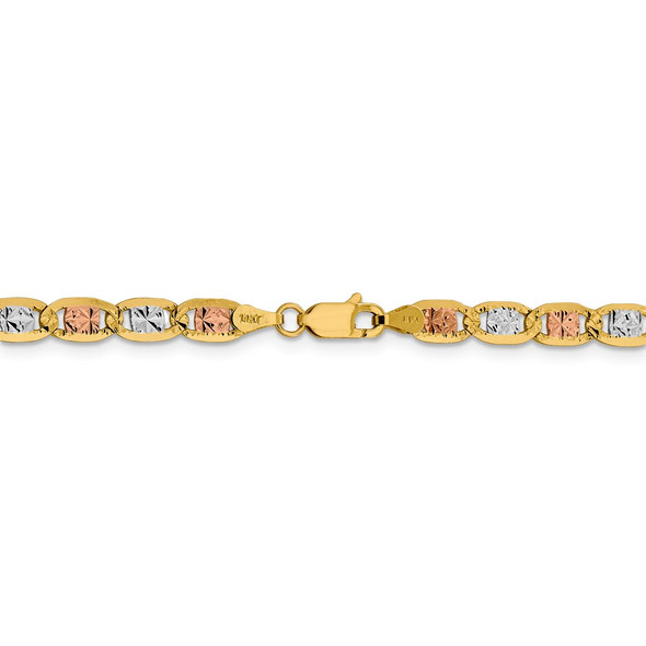 """24"""" 14k Tri-color Gold 4.65mm Rose & White Rhodium-plating Pave Valentino Chain Necklace"""