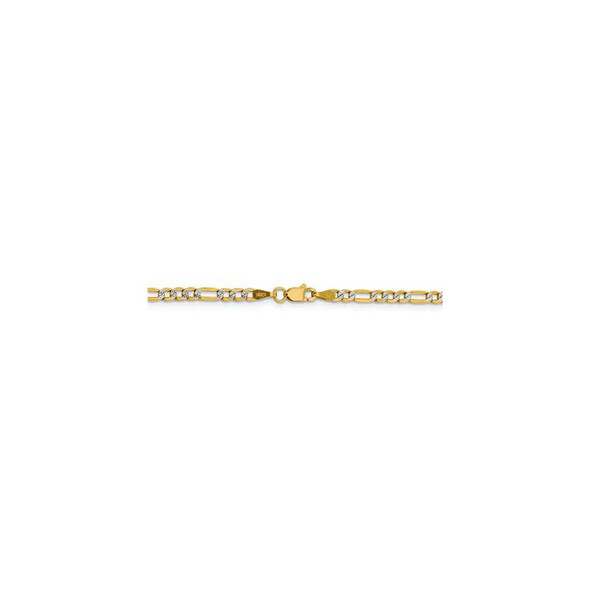 """16"""" 14k Yellow Gold 3.2mm Semi-solid w/ Rhodium-plating Pave Figaro Chain Necklace"""