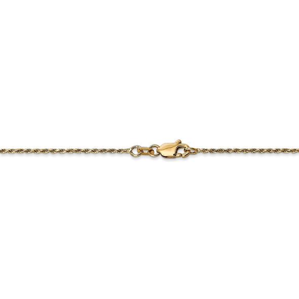"14"" 14k Yellow Gold 1.15mm Diamond-cut Machine-made Rope Chain Necklace"
