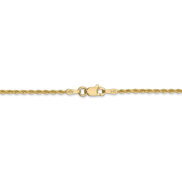 """14"""" 14k Yellow Gold 1.50mm Diamond-cut Rope with Lobster Clasp Chain Necklace"""
