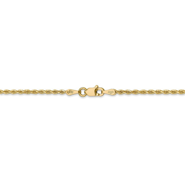 """14"""" 14k Yellow Gold 1.75mm Diamond-cut Rope with Lobster Clasp Chain Necklace"""