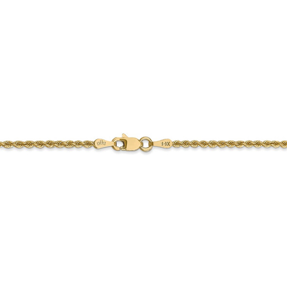 """14"""" 14k Yellow Gold 2mm Regular Rope Chain Necklace"""