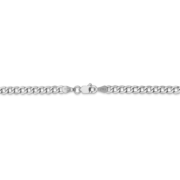 "16"" 14k White Gold 3.35mm Semi-Solid Curb Chain Necklace"