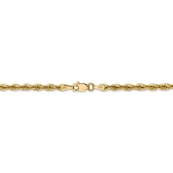 """18"""" 14k Yellow Goldy 3.0mm Semi-Solid Rope Chain Necklace"""