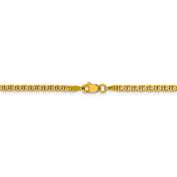 """10"""" 14k Yellow Gold 2.4mm Concave Anchor Chain Anklet"""