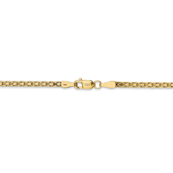 "16"" 14k Yellow Gold 1.8mm Lightweight Flat Bismark Chain Necklace"