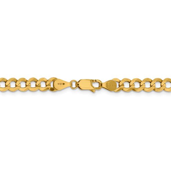 """18"""" 14k Yellow Gold 5.9mm Lightweight Flat Cuban Chain Necklace"""
