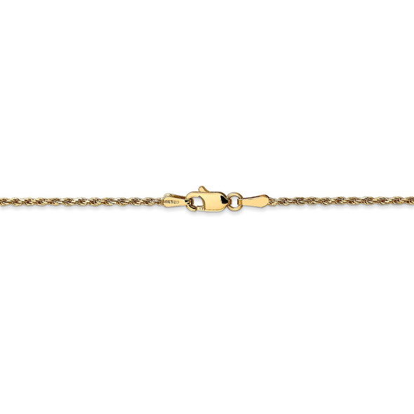 """14"""" 14k Yellow Gold 1.3mm Solid Diamond-cut Machine-Made Rope Chain Necklace"""