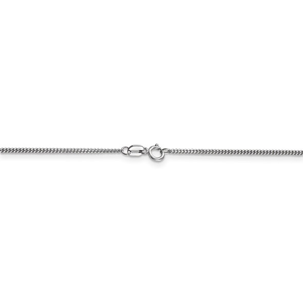 "16"" 14k White Gold 1.3mm Curb Pendant Chain Necklace"