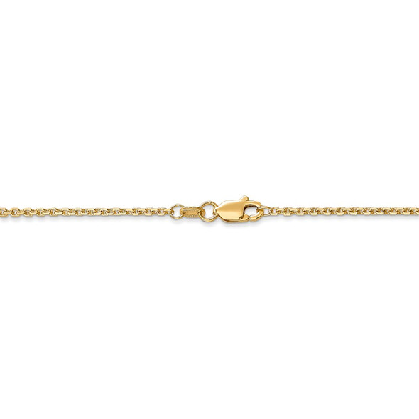 """14"""" 14k Yellow Gold 1.45mm Solid Diamond-cut Cable Chain Necklace"""