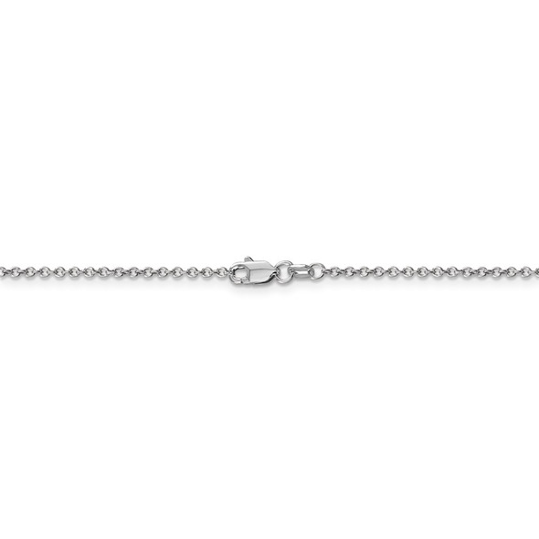 """16"""" 14k White Gold 1.4mm Round Open Wide Link Cable Chain Necklace"""